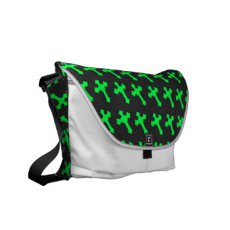 Bright Neon Green Crosses on a Black fabric Courier Bag