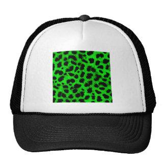 BRIGHT NEON GREEN LIME BLACK ANIMAL PRINT PATTERN MESH HATS
