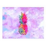 Bright Neon Hawaiian Pineapple Tropical Watercolor