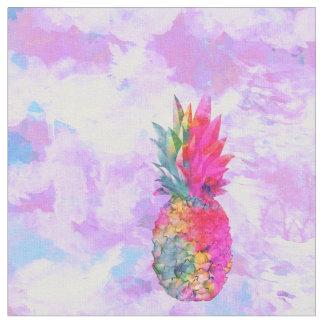 Bright Neon Hawaiian Pineapple Tropical Watercolor Fabric