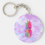 Bright Neon Hawaiian Pineapple Tropical Watercolor Basic Round Button Key Ring