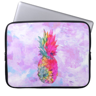 Bright Neon Hawaiian Pineapple Tropical Watercolor Laptop Sleeve