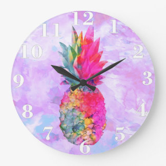 Bright Neon Hawaiian Pineapple Tropical Watercolor Large Clock