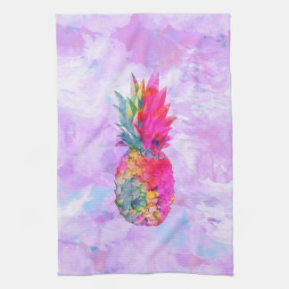 Bright Neon Hawaiian Pineapple Tropical Watercolor Tea Towel