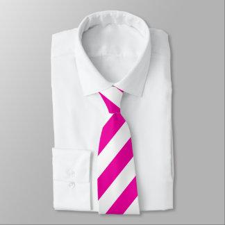 Bright Neon Hot Pink and White Stripe Necktie