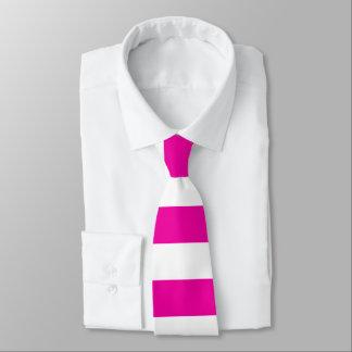 Bright Neon Hot Pink and White Stripe Tie