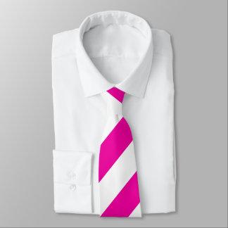 Bright Neon Hot Pink and White Striped Necktie