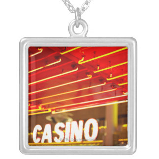 Bright neon lights in front of casino, Las Vegas Silver Plated Necklace