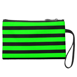 Bright Neon Lime Green and Black Stripes Wristlet Clutches