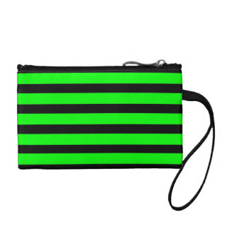 Bright Neon Lime Green and Black Stripes Change Purses