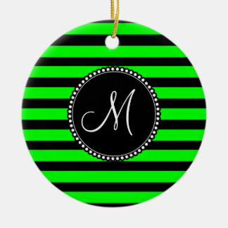 Bright Neon Lime Green and Black Stripes Christmas Ornament