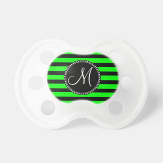 Bright Neon Lime Green and Black Stripes Pacifiers