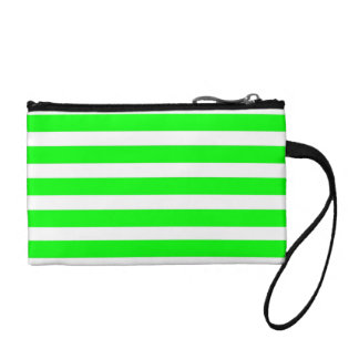 Bright Neon Lime Green and White Stripes Pattern Coin Purses