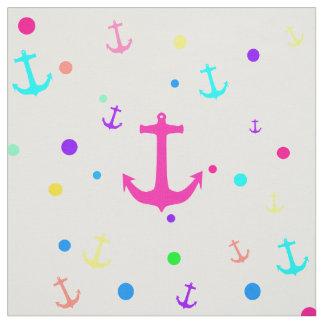 Bright Neon Nautical Anchors Polka Dots Pattern Fabric