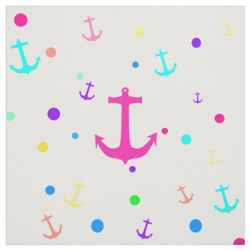 Bright Neon Nautical Anchors Polka Dots Pattern Fabric