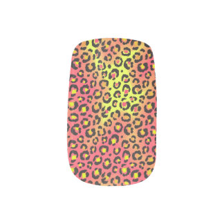 Bright Neon Pink and Yellow Leopard Cheetah Print Minx Nail Art