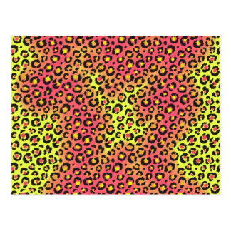 Bright Neon Pink and Yellow Leopard Cheetah Print Postcard