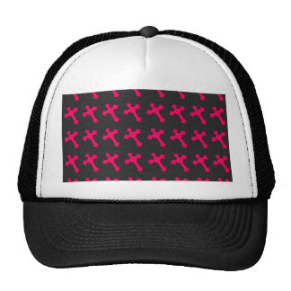 Bright Neon Pink Crosses on a Black fabric Cap