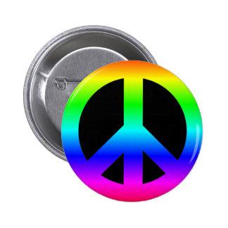 Bright Neon Rainbow CND Peace Symbol on Black 6 Cm Round Badge