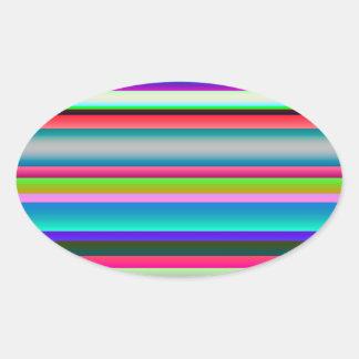 Bright Neon Rainbow Stripes Oval Sticker