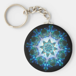 Bright Neon Starburst Kaleidoscope in Blue Basic Round Button Key Ring