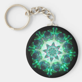 Bright Neon Starburst Kaleidoscope in Green Basic Round Button Key Ring