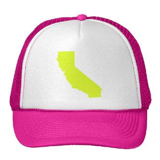 Bright Neon Yellow California Map Design Cap