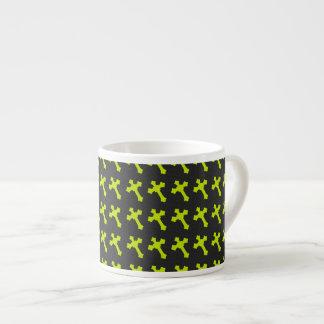 Bright Neon Yellow Crosses on a Black fabric Espresso Mug