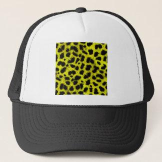 BRIGHT NEON YELLOW LEMON BLACK ANIMAL PRINT PATTER TRUCKER HAT