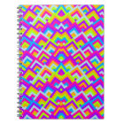 Bright Neons Zigzag Symmetric Peeks Pattern Notebook
