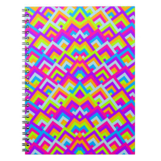 Bright Neons Zigzag Symmetric Peeks Pattern Notebooks