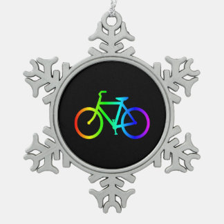 Bright Ombre Rainbow Bicycle Snowflake Pewter Christmas Ornament