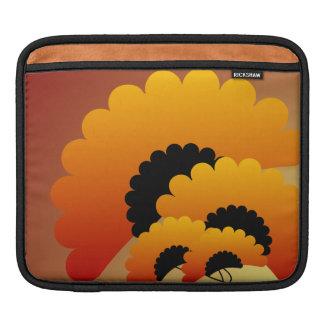 Bright Orange and Black Flowers iPad Sleeve