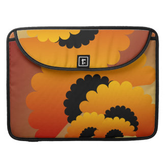 Bright Orange and Black Flowers Sleeve For MacBook Pro