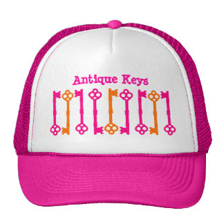 Bright orange and hot pink old keys mesh hats