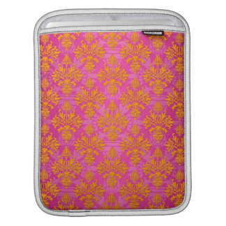 Bright Orange and Pink Floral Damask iPad Sleeves