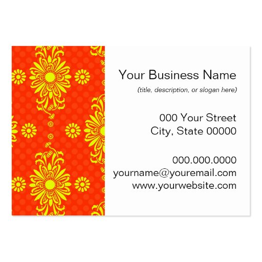 Bright Orange and Yellow Floral Pattern Business Cards
