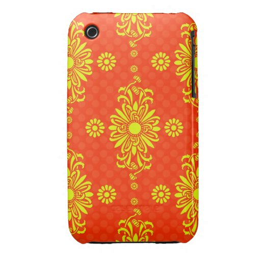Bright Orange and Yellow Floral Pattern iPhone 3 Case-Mate Case