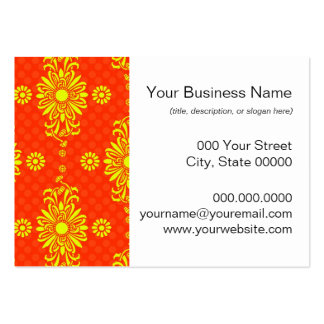 Bright Orange and Yellow Floral Pattern Pack Of Chubby Business Cards