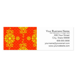 Bright Orange and Yellow Floral Pattern Pack Of Skinny Business Cards