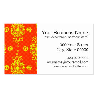 Bright Orange and Yellow Floral Pattern Pack Of Standard Business Cards