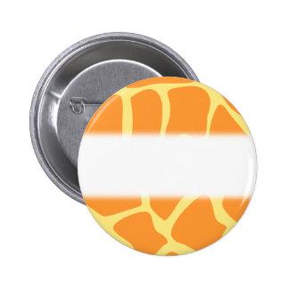 Bright Orange and Yellow Giraffe Print Pattern. 6 Cm Round Badge