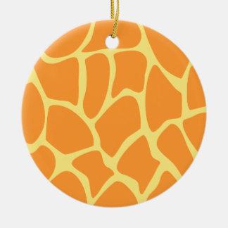 Bright Orange and Yellow Giraffe Print Pattern. Christmas Ornament