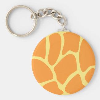 Bright Orange and Yellow Giraffe Print Pattern. Key Chain