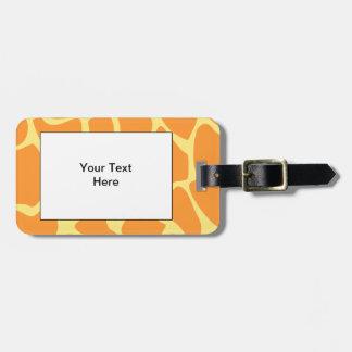 Bright Orange and Yellow Giraffe Print Pattern. Luggage Tag