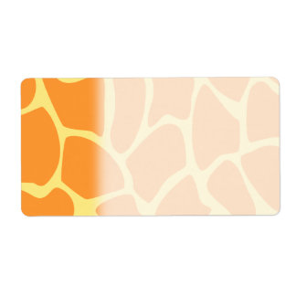 Bright Orange and Yellow Giraffe Print Pattern. Shipping Label