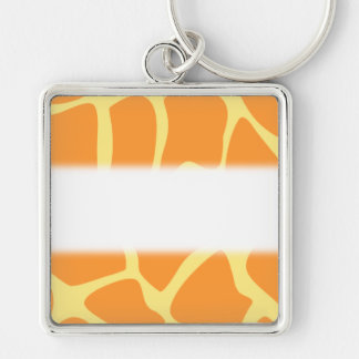 Bright Orange and Yellow Giraffe Print Pattern. Silver-Colored Square Key Ring