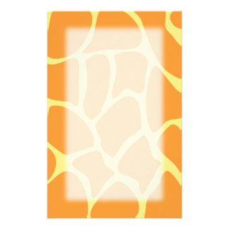 Bright Orange and Yellow Giraffe Print Pattern. Stationery