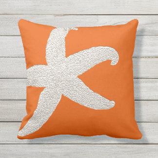 Bright Orange Big Starfish Decorative Throw Pillow Throw Cushions