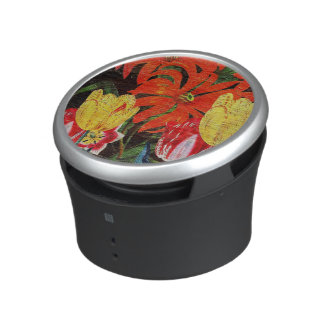 Bright Orange Botanical Vintage Oil Painting Bluetooth Speaker